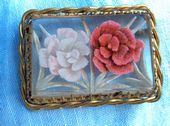 1940s French Lucite Brooch with Two Pink Carnations